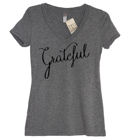 Thankful Glitter Heart V Neck Shirt