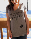 Tis The Season To Be Pregnant Women's V Neck Shir - It's Your Day Clothing