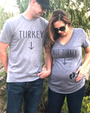 Turkey Maternity With Baby Feet Couple Shirt Set - It's Your Day Clothing