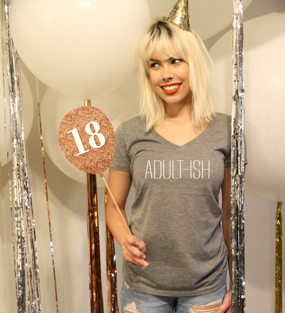 Adult-ish Women's V Neck White Print - It's Your Day Clothing