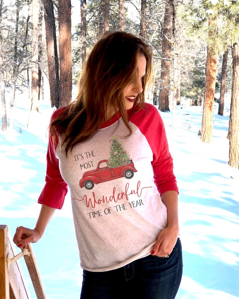 It's The Most Wonderful Time Of The Year Shirt 3/4 Red Raglan - It's Your Day Clothing