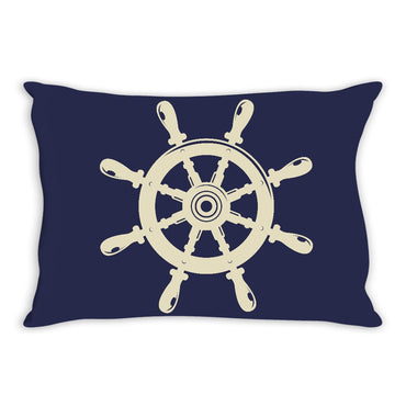 Nautical Wheel Throw Pillow Navy and Khaki - 2cooldesigns