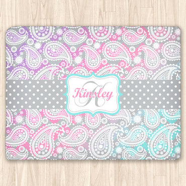 Paisley Pattern Fuzzy Area Rug, Personalized, Pink, Purple and Teal Ombre Design - 2cooldesigns