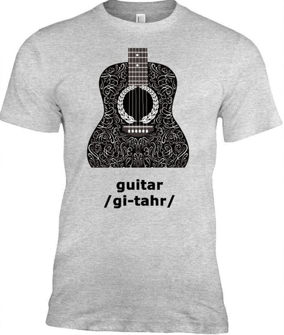 Acoustic Guitar T-Shirt, 100% Cotton Adult Tshirt - 2cooldesigns