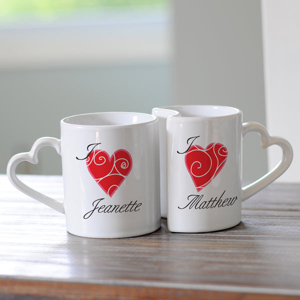 Personalized Heart Mugs (Set of 2) - 2cooldesigns