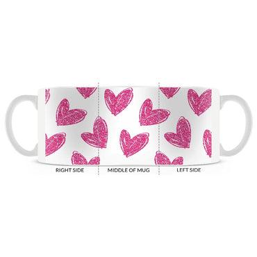 Valentine, Hand Drawn Hearts Pattern, White and Pink Coffee Mug 11oz. or 15oz. - 2cooldesigns