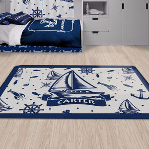 Nautical Sail Boat Area Rug, Personalized Nautical Area Rugs and Mats