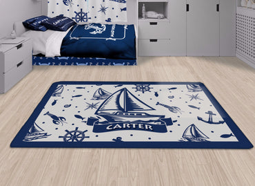 Nautical Sail Boat Area Rug, Personalized Nautical Area Rugs and Mats - 2cooldesigns