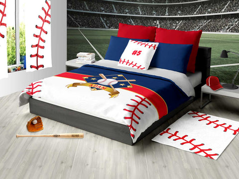 I Love Baseball, Baseball Bedding, Duvet or Comforter Sets for Baseball Theme Bedroom - 2cooldesigns