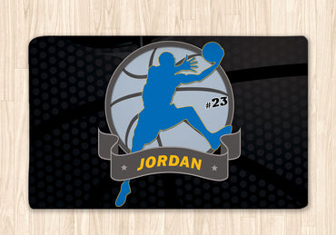 Basketball Area Rug Black and Blue - 2cooldesigns