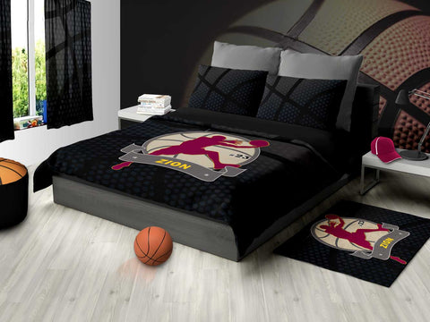 Basketball Area Rug Black and Maroon - 2cooldesigns