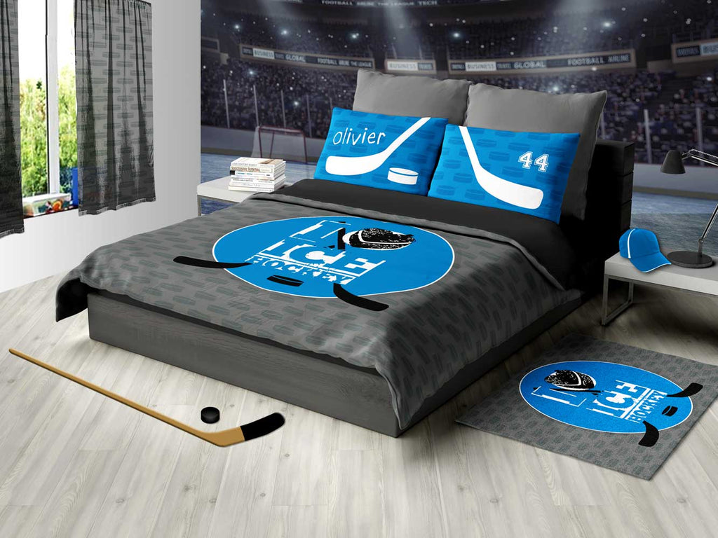 Personalized Hockey Bedding, Blue And Gray, Custom Duvet Or Comforter Sets  For Hockey Themed