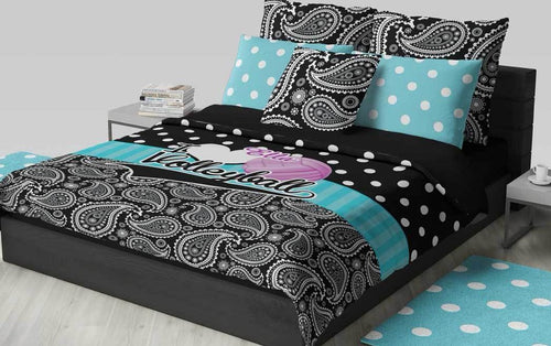 Personalized Volleyball Bedding, Duvet Or Comforter, Polka Dots And Paisley