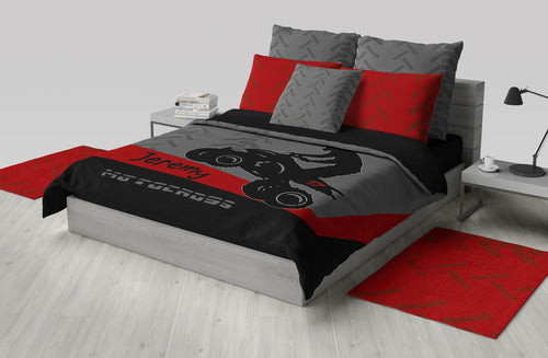 Quad Dirt Bike ATV Motocross Bedding, Red, Black, Personalized