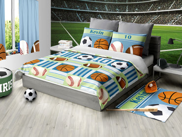 Custom Sports Bedding, All Star Sports Personalized Bedding, Duvet or Comforter, Sports Theme - 2cooldesigns