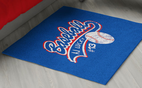 Baseball Area Rug Personalized - 2cooldesigns