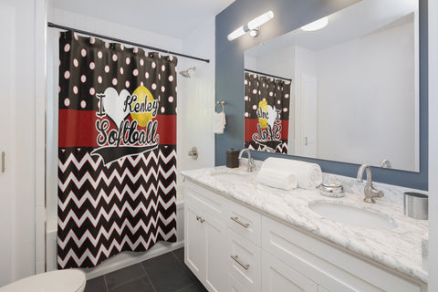 I Love Softball, Red and Black Chevron and Polka Dots Shower Curtain