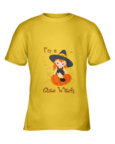 Halloween I'm a Cute Witch Tshirt, Gildan Youth Ultra Cotton Tees - 2cooldesigns
