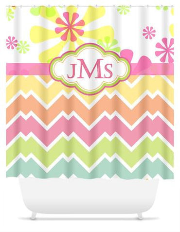 Spring Flowers and Candy Chevron Shower Curtain with Monogram, Personalized - 2cooldesigns