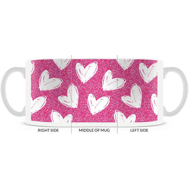 Valentines, Hand Drawn Hearts Pattern, Pink and White Coffee Mug 11oz. or 15oz. - 2cooldesigns