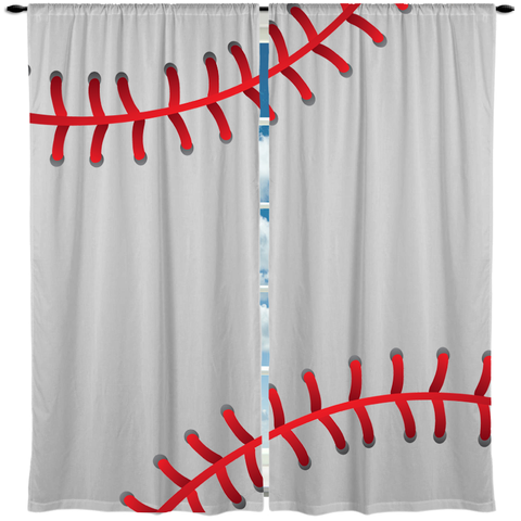 Baseball Theme Window Curtain or Valance, Personalized - 2cooldesigns