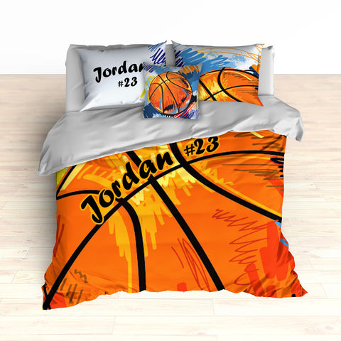 Personalized Basketball Art Bedding, Basketball Theme Decor, Duvet or Comforter - 2cooldesigns