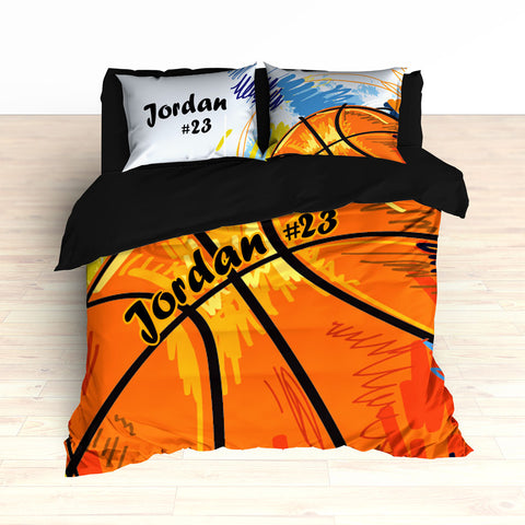 Personalized Basketball Art Bedding, Basketball Theme Decor, Duvet or Comforter