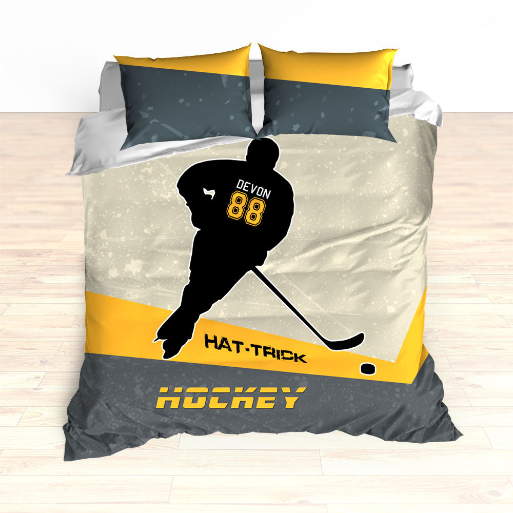 Personalized Hockey Bedding, Black and Yellow, Custom Duvet or Comforter Sets, Hat Trick Hockey - 2cooldesigns