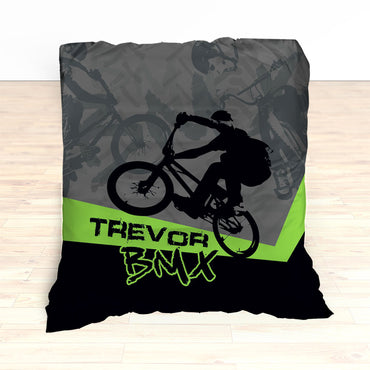 Kids BMX Bike Bedding, Bicycle Racing Bedroom Decor - 2cooldesigns
