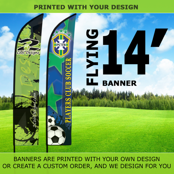 14' Feather Banner with Stand - Printed with Your Design - 2cooldesigns