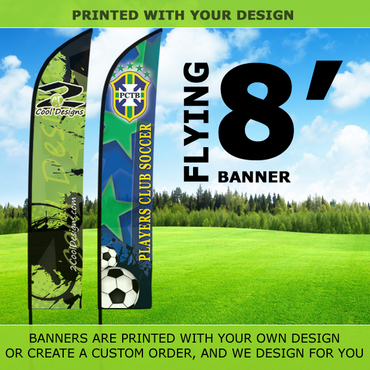 8' Feather Banner with Stand - Printed with Your Design - 2cooldesigns