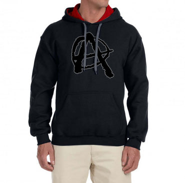 Anarchy Hoodie, Two Tone Contrast Hoodie Sweatshirt Pullover Top - 2cooldesigns