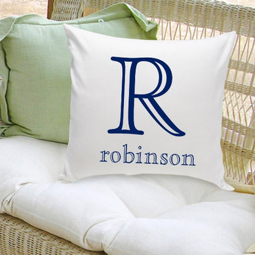 16x16 Family Name Throw Pillows - Family Initial - 2cooldesigns