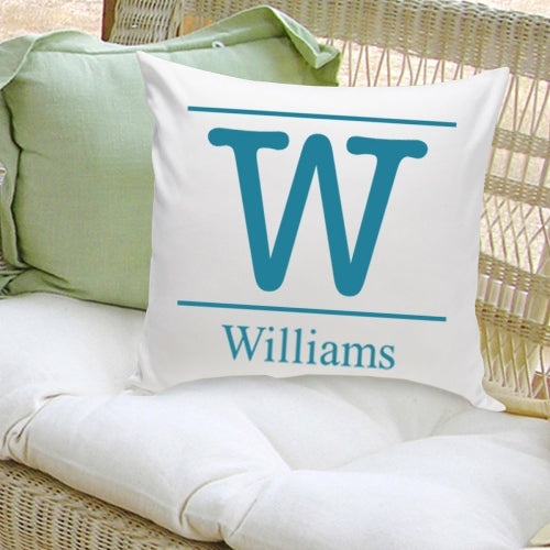 16x16 Family Name Throw Pillows - Typeset Initial - 2cooldesigns