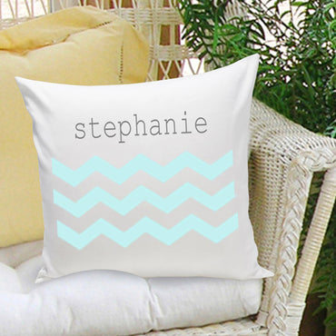 16x16 Family Name Throw Pillows - Chevron Blue - 2cooldesigns