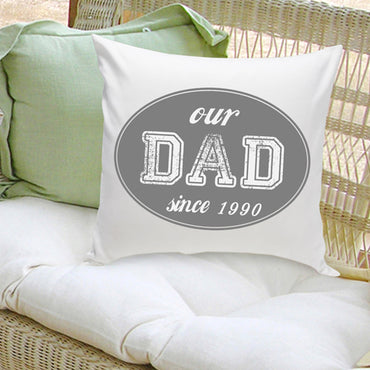 16x16 Throw Pillow Family - Our Dad Grey - 2cooldesigns