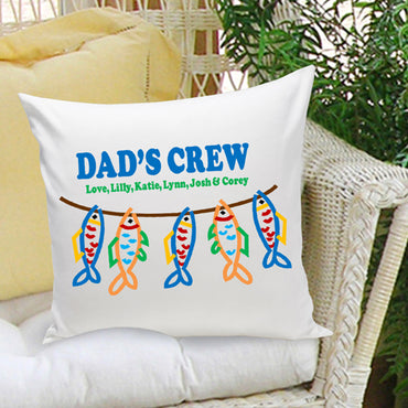 16x16 Throw Pillow Family - Dad's Crew - 2cooldesigns