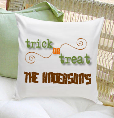 16x16 Family Name Throw Pillows - Trick or Treat - 2cooldesigns