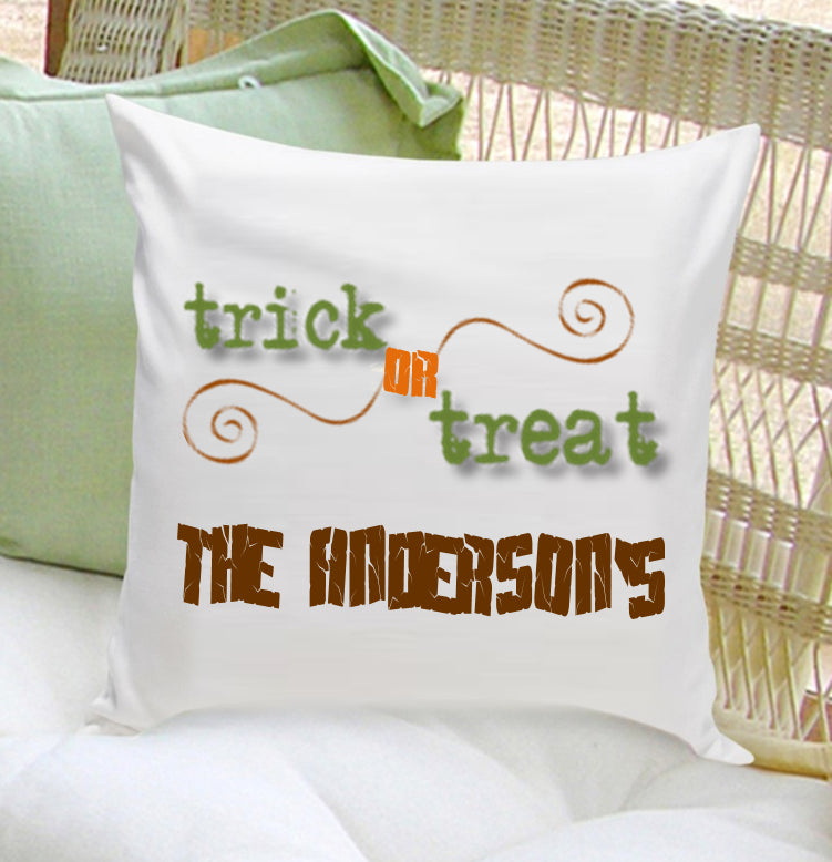 Personalized Halloween Throw Pillows - Trick or Treat - 2cooldesigns