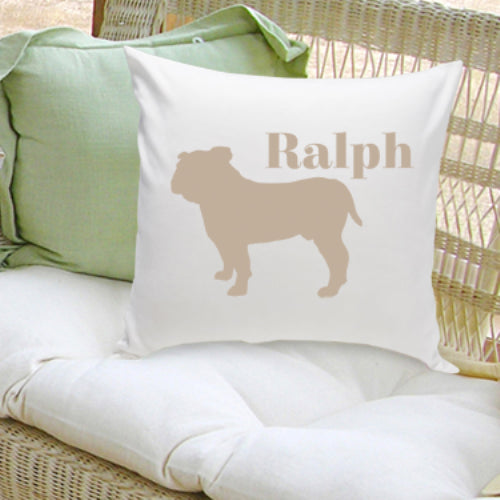 Classic Silhouette Personalized Dog Throw Pillow - 2cooldesigns