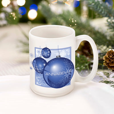 Winter Holiday Coffee Mug - Blue Ornament - 2cooldesigns