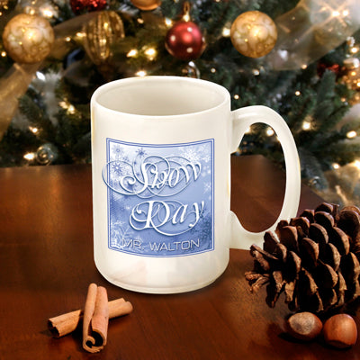 Winter Holiday Coffee Mug - Blue Snow Day - 2cooldesigns