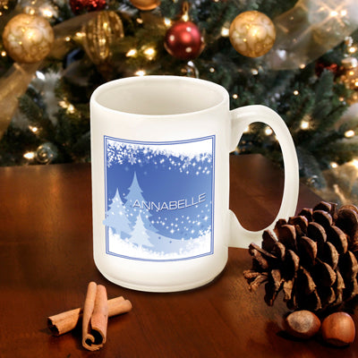 Winter Holiday Coffee Mug - Blue Snowscapes - 2cooldesigns