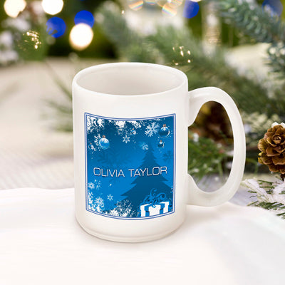 Winter Holiday Coffee Mug - Blue Surprises - 2cooldesigns