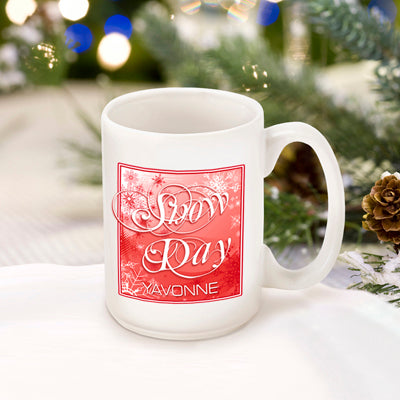 Winter Holiday Coffee Mug - Red Snow Day - 2cooldesigns
