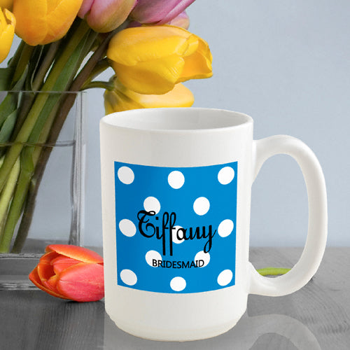 Polka Dot Coffee Mug - Blue - 2cooldesigns
