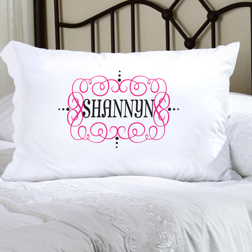 Felicity Glamour Girl Pillow Case-  Pink w/ Black - 2cooldesigns