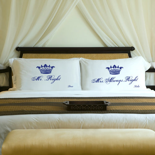 Couples Pillow Case Set - Royal