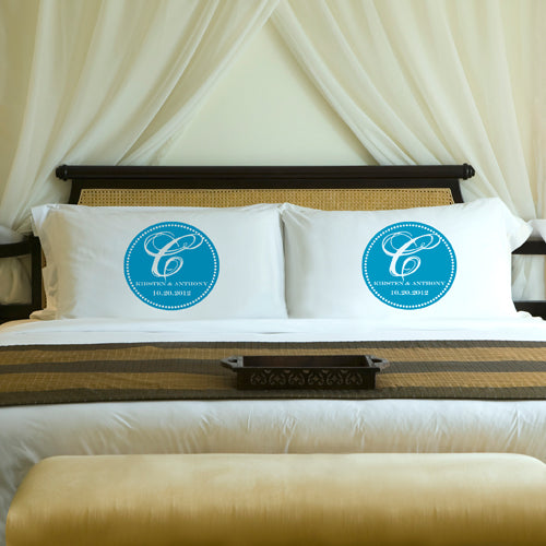 Magical Monogram Couples Pillow Case Set - 2cooldesigns