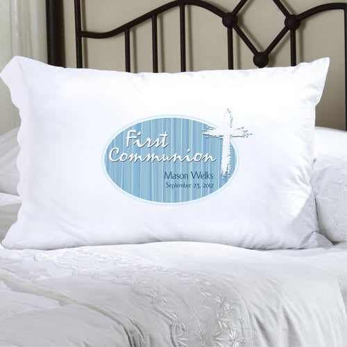 First Communion Pillow Case - Celtic Blessings Blue - 2cooldesigns